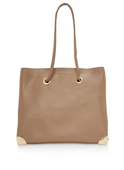 Faux Textured Leather Tote Bag - 3124073892072