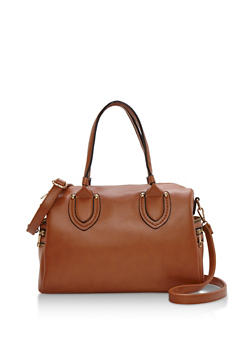Faux Leather Satchel Bag with Removable Strap - 3124073895019