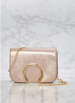 Open Ring Faux Leather Crossbody Bag - 3124073895025