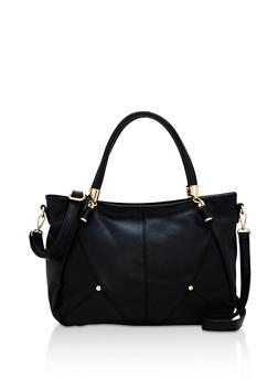 Faux Pebbled Leather Satchel Bag - 3124073895033