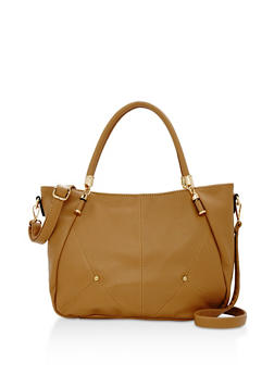 Faux Pebbled Leather Satchel Bag - 3124073895033