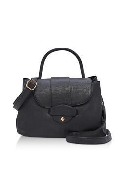 Textured Faux Leather Satchel Bag - 3124073895169