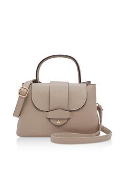 Textured Faux Leather Satchel Bag - 3124073895169