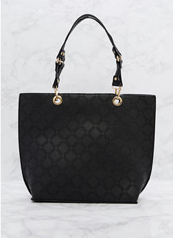 Faux Leather Shopper Tote Bag - 3124073895601