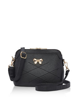 Faux Leather Bow Stitch Crossbody Bag - 3124073895607