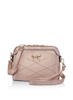 Faux Leather Bow Stitch Crossbody Bag - 3124073895607