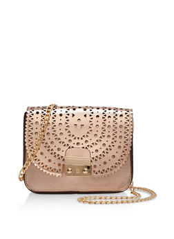 Faux Leather Perforated Crossbody Bag - 3124073895622