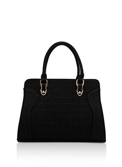 Faux Leather Embossed Satchel Bag - 3124073895637