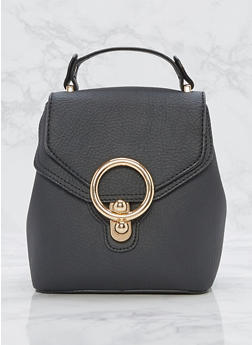 Small Faux Textured Leather Backpack - 3124073895639