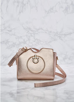 Mini Faux Leather Crossbody Bag with Ring Handles - 3124073895640