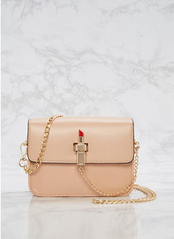 Small Lipstick Faux Leather Crossbody Bag - 3124073895643