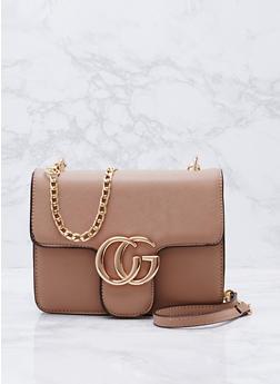 Faux Saffiano Leather Logo Crossbody Bag - 3124073895645