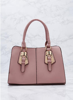 Faux Textured Leather Buckle Satchel Bag - 3124073895677