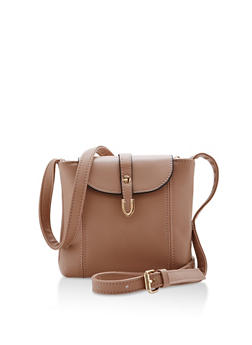 Small Faux Leather Metal Tip Crossbody Bag - 3124073895695