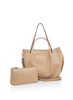 Faux Leather Satchel Bag with Metal Handle - 3124074107209