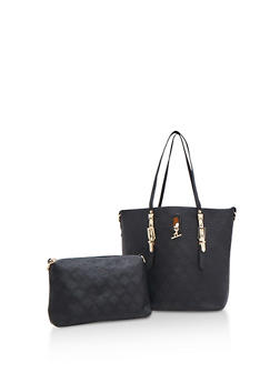 Large 2 Piece Textured Tote Bag - 3124074107308