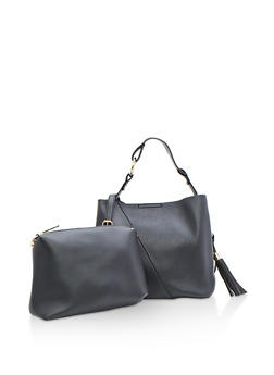 Two Piece Faux Leather Handbag with Tassel - 3124074107610