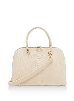 Large Textured Satchel Bag - 3124074107857