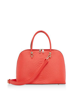 Large Textured Satchel Bag - 3124074107857