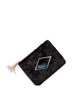 Crushed Velvet Tassel Clutch - 3124074113309