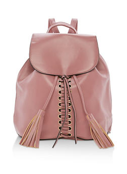 Faux Leather Lace Up Backpack with Tassels - 3124074132001