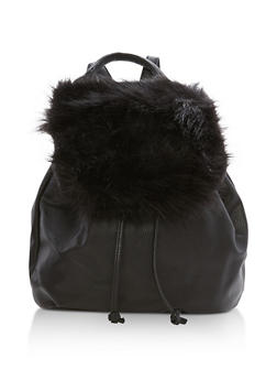 Faux Fur Flap Backpack - 3124074132002