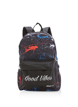Good Vibes Paint Splatter Nylon Backpack - 3124074133105