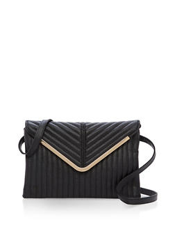 Quilted Faux Leather Envelope Bag - 3124074394594