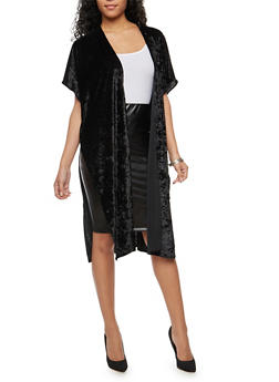 Crushed Velvet Duster - BLACK - 3125018432159
