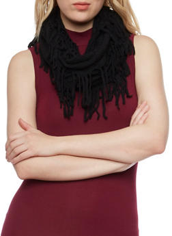 Open Knit Infinity Scarf with Fringe - 3125041651160