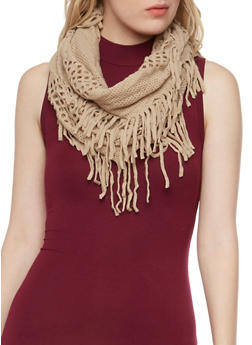 Open Knit Infinity Scarf with Fringe - TAUPE - 3125041651160