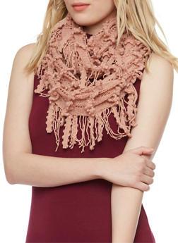 Infinity Scarf with Crochet Fringe - BLUSH - 3125041651602