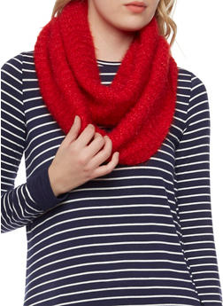 Shimmer Knit Infinity Scarf - RED - 3125041651608