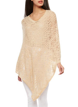 Solid Crochet Poncho - 3125041653491