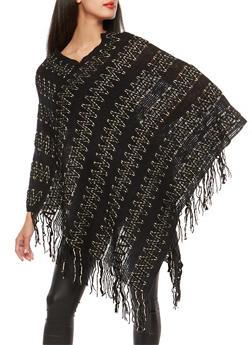 Shimmer Knit Zig Zag Poncho - 3125041657391