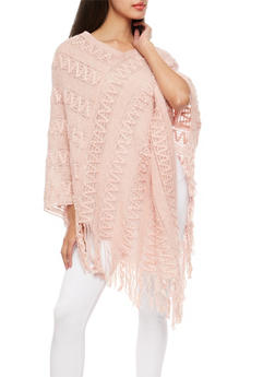 Shimmer Knit Zig Zag Poncho - BLUSH/BLK - 3125041657391