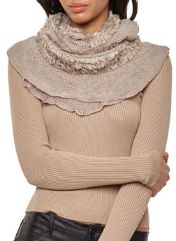 Shimmer Fringe Knit Infinity Scarf - 3125041657649