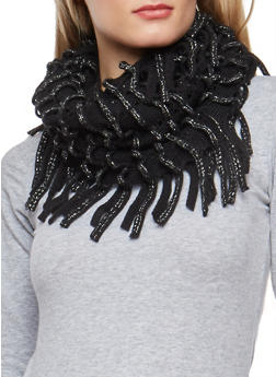 Glitter Knit Looped Fringe Scarf - 3125041658550