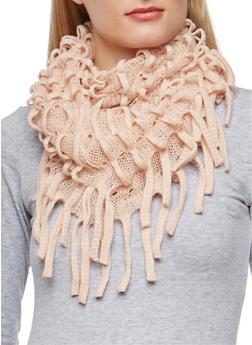 Glitter Knit Looped Fringe Scarf - BLUSH - 3125041658550