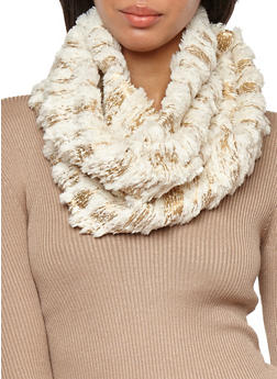 Brushed Foil Faux Fur Infinity Scarf - 3125041659301