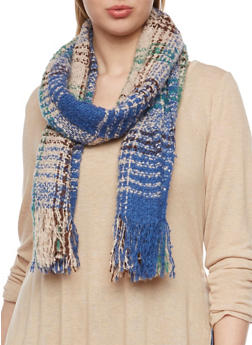 Oversized Knit Scarf in Plaid - BLUE/NATURAL - 3125042740020