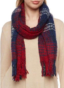 Oversized Knit Scarf in Plaid - BURGUNDY/NAVY - 3125042740020