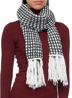 Slouchy Beanie Hat and Fringed Scarf Set - WHITE/GREY - 3125042740100