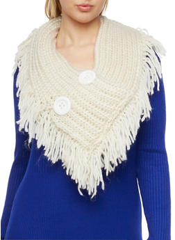 Pull On Scarf with Buttons and Fringe Trim - IVORY - 3125042740600