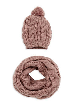 Cable Knit Infinity Scarf and Beanie Hat Set - 3125042744444