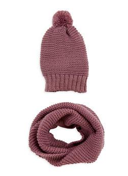 Knit Infinity Scarf and Pom Pom Hat - 3125042746600