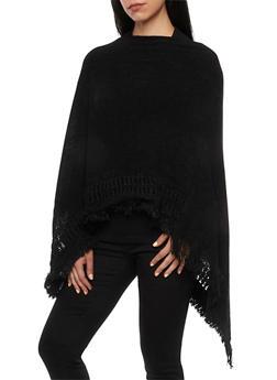 Knit Poncho Scarf with Fringe - BLACK - 3125066986608