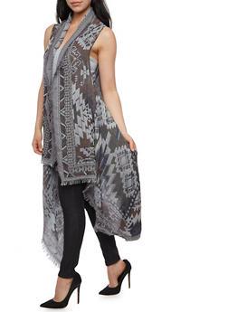 Printed Sleeveless Frayed Hem Kimono - 3125067440307