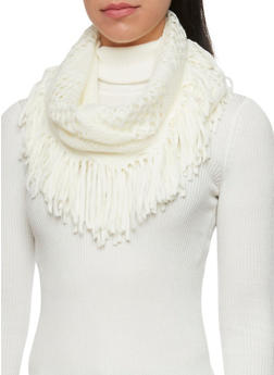 Perforated Infinity Scarf with Fringe - WHITE - 3125067441263