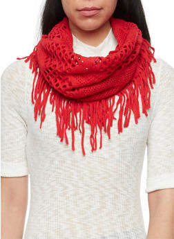 Perforated Infinity Scarf with Fringe - RED - 3125067441263